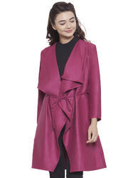 Martini Women Pink Front Open Waterfall Woolen Jacket