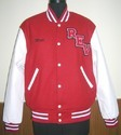 Scarlet White Knit Collar  Varsity Jacket