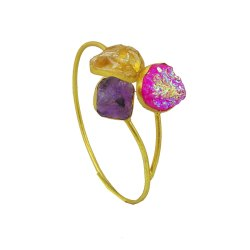 Raw Amethyst And Citrine Druzy Gemstone Cuff Bangle