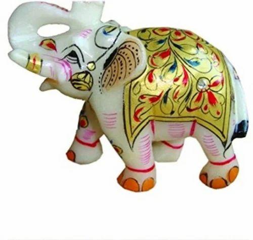 Marble Golden Work Decorative Elephant Statue