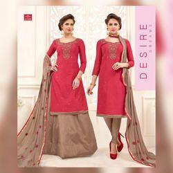 Multicolored Party Wear Owomaniya Kanchi Banarasi Soft Cotton Dress Material