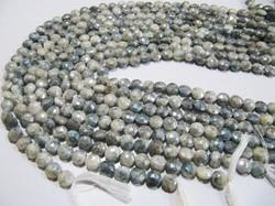 Coated Gray Silverite Beads Coin Shape