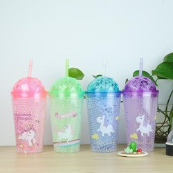 Plastic Blue Unicorn sippers, 300, Capacity: 450