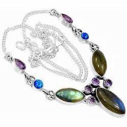 Sterling Silver Labradorite, Fire Opal, Amethyst Necklaces