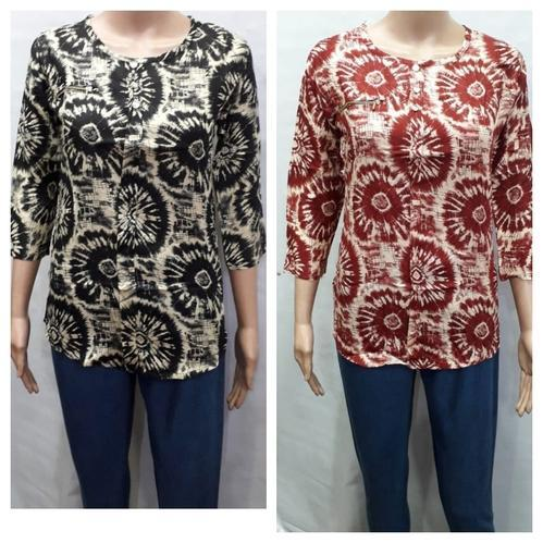 Rayon 3/4th Sleeve Printed Top