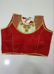 Red Art Silk Handwork Blouse