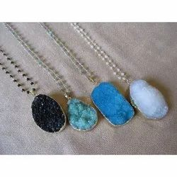 Gold Electroplated Druzy Necklace