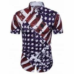 Hidden Button American Flag Print Shirt