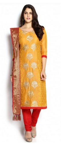 0b80159218 Yellow And Red Chanderi Suit, Chanderi Salwar Kameez, चंदेरी ...