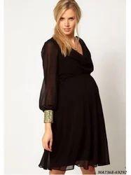 Chiffon Black Self Party Maternity Wear