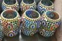 Printed Round Glass Mosaic Beads Hanging Lamp, For Decorations