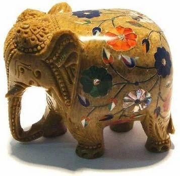 Inlay Work Soapstone Elephant For Home Decor