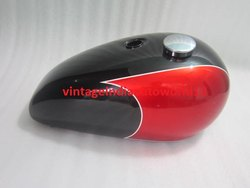 New Triumph T140 Black And Cherry Painted Petrol Tank (Reproduction) With Chrome Cap And Tap