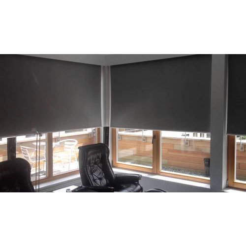 Grey Horizontal Motorized Floor To Ceiling Window Blinds