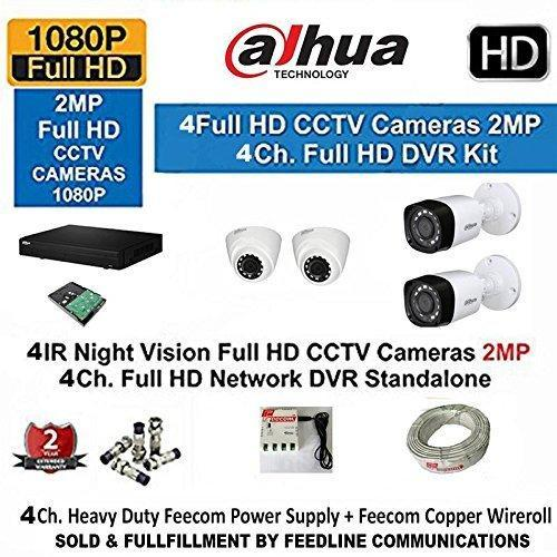Dahua 4 Channel Hd- Dvr With 1080P Realtime Preview   2- Dahua Hd Ir 2Mp Dome Camera & 2 BULLET Cam