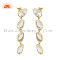 Gold Plated 925 Silver Crystal Quartz Gemstone Dangle Earring Jewelry