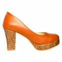 Orange And Light Brown Tiesta Block Heel Shoes