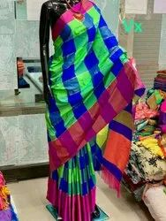 Border Party Wear Soft Silk Checked Sarees, Length: 6.3 m (With Blouse Piece)