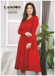 Red Designer Woolen Kurtis