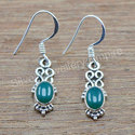 925 Solid Silver Jewelry Green Onyx Gemstone Earring