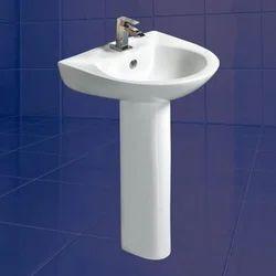Star White And Ivory Ceramic Mermaid Pedestal Wash Basin