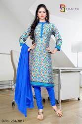 Blue and Beige Silk Georgette Uniform Salwar Kameez