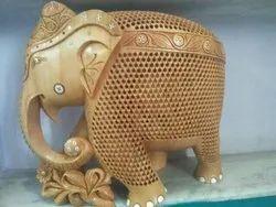 Polished Wooden Undercut Jali Elephant