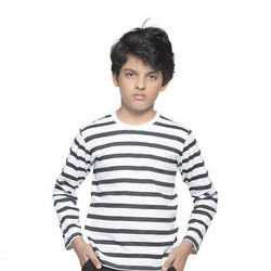Full Sleeve R-Neck Clifton Boys Small Stripes T-Shirt
