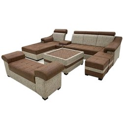 Suede Fabric 9 Seater Corner Sofa Set
