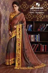 Laxmipati Multicolor Chiffon Saree CHITRAVALI 5202