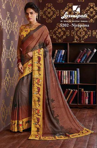 b3022b37545 Laxmipati Multicolor Chiffon Saree CHITRAVALI 5202 at Rs 1830  piece ...