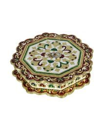White Metal Meena Dry Fruit Box with Painting