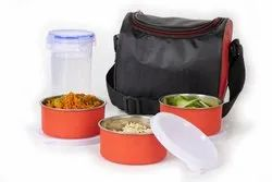 Stainless Steel 3 Container with Plastic Bottle Microwave-safe Lunch Box