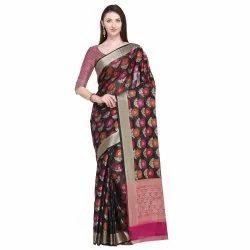 Black Colored Cotton Silk Jacquard Maheshwari Traditional Wear Saree
