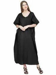 ea428ee369d Skavij Maxi Length Caftan Embroidered Pure Cotton Kaftans Nightgown Plus  Size - Black