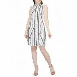 Silver And White Mini Sequin Dress
