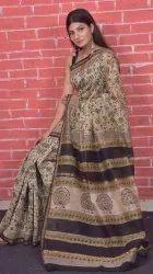 Bagru Hand Block Printed Natural Colour Chanderi Saree