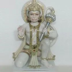 White And Golden Marble Hanuman Statue