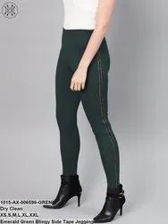Emerald Green Blingy Side Tape Jegging
