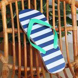 Blue, White And Sea Green Men Stylish Rubber Slippers