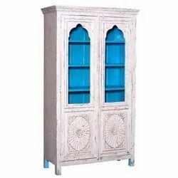Satyam International Modern Wooden Glass Door Almirah