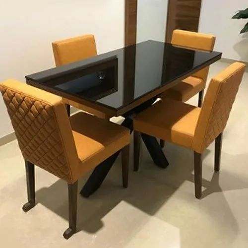 Glass Top Designer Wooden Dining Table Set For Home Rs 64000 Set Id 21963105197