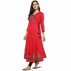 Yash Gallery Women's Rayon Patch Worked Anarkali Kurta