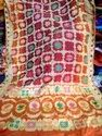 Party Wear Dupion Silk Bandhani Saree, 6.3 M (with Blouse Piece), Hand Made