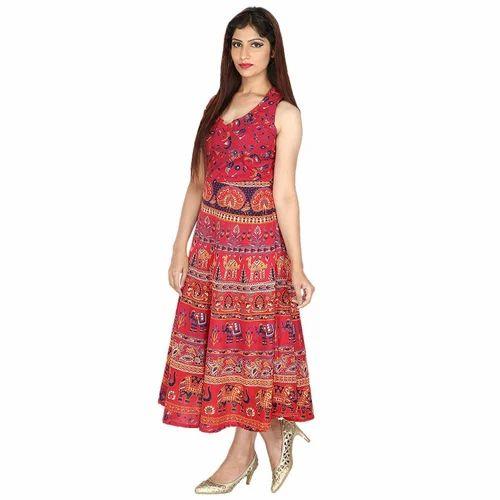 fe9983fd31c3 Rajasthani Printed Long Rayon Dress at Rs 310 piece