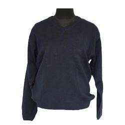 Woolen Navy Blue Mens V Neck Sweater, Size: 36 - 44