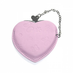 Heart Hand Mirror With Leather Pink Case