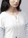 White Hand Block Printed Aline Kurta With Flared Sleeve