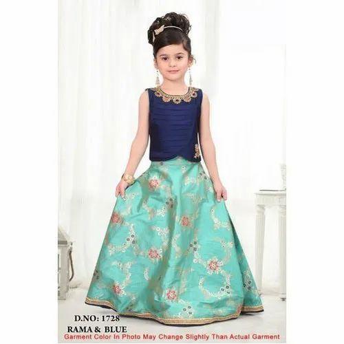 Party Wear Printed Kids Fancy Gown, Size: S