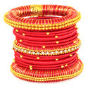 indian Red Handcraft Fancy Collection Silk Thread Bangles